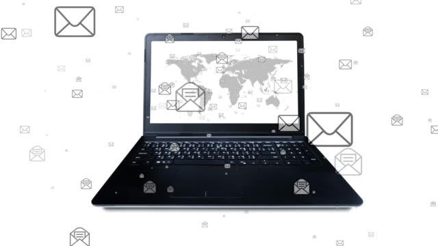vídeos de stock, filmes e b-roll de 4k: envio e recebimento de e-mails - send