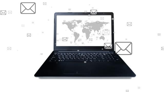 4K: sändande, inkommande e-post och notebook-animering