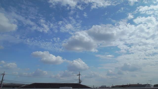 4k,sky over the roof. tokyo, japan - ケーブル線点の映像素材/bロール
