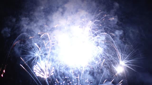 4K:Spectacular golden firework display, New Year celebrations