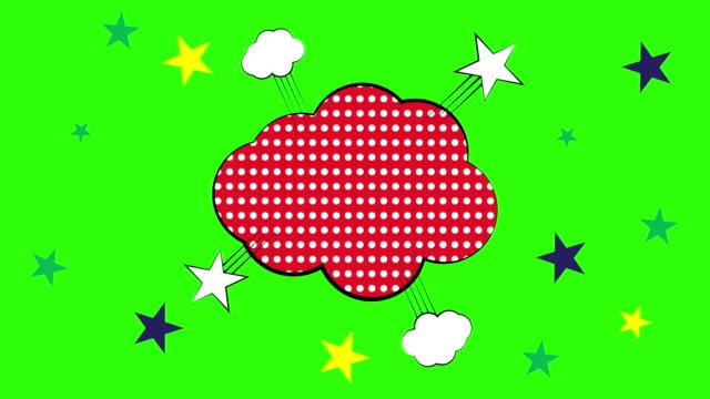 vídeos de stock, filmes e b-roll de 4k: bolhas de fala no estilo pop art elementos de design comic books, animação de vídeo - meio tom