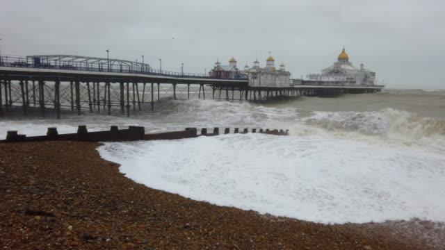 4k:storm ciara eastbourne, england - brighton england stock videos & royalty-free footage