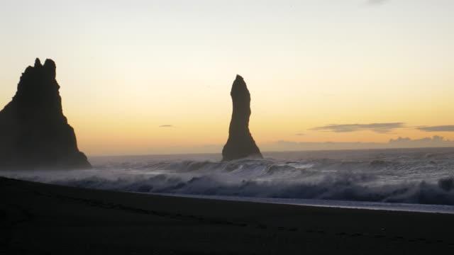 4K:Sunrise på Vik city på svarten beach Island