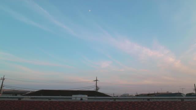 4K,Sunset sky over the roof. Tokyo, Japan