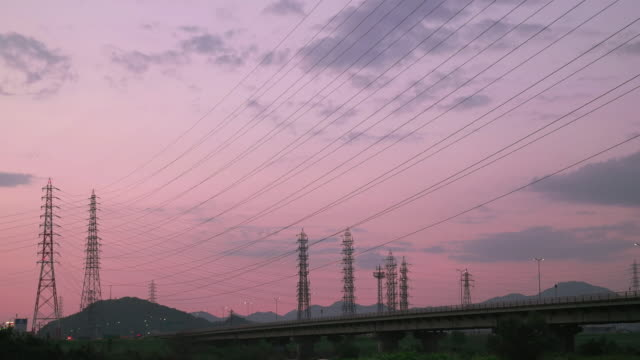4k,sunset.kakogawa,hyogo,japan - electricity pylon stock videos & royalty-free footage