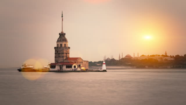 4k:the maiden's tower **time lapse** - bosphorus stock videos & royalty-free footage