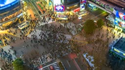 4K.Time lapse Aerial view of Shibuya crossing in Tokyo of Japan