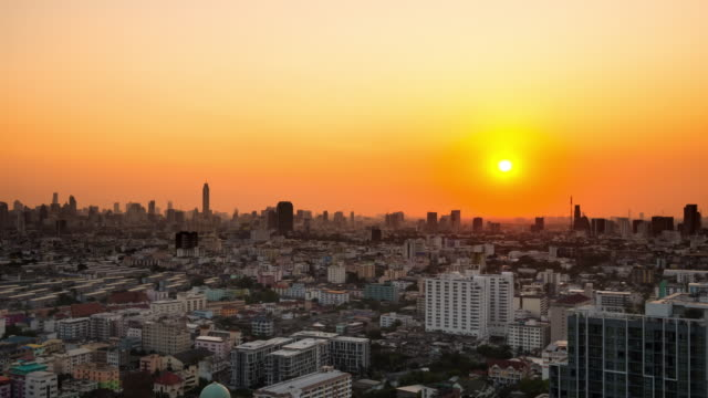 4k:time lapse of bangkok big city sunset - generic location stock videos & royalty-free footage