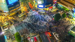 4K,Time lapse of the famous and very busy Shibuya crossing in Tokyo, Japan