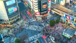4K.Time lapse People in the streets of the modern city, Shibuya crossing of Tokyo, Japan
