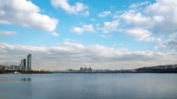 4K,Time lapse. The Han River Scenic Area in Seoul, the capital of South Korea.