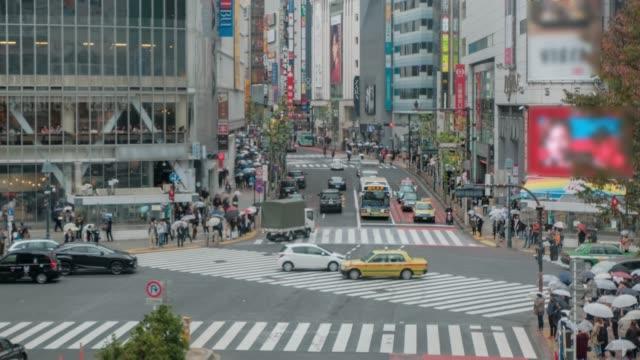 4kTime lapse - Tokyo, Shinjuku crowd crossing the street