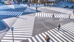 4K,Time lapse traffic and crowd people at ginza district intersection in Tokyo of Japan