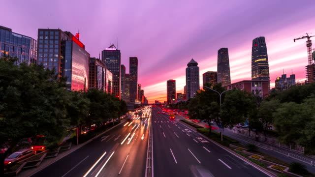 4k-time lapse-urban highway traffic of beijing at night - light trail stock videos & royalty-free footage