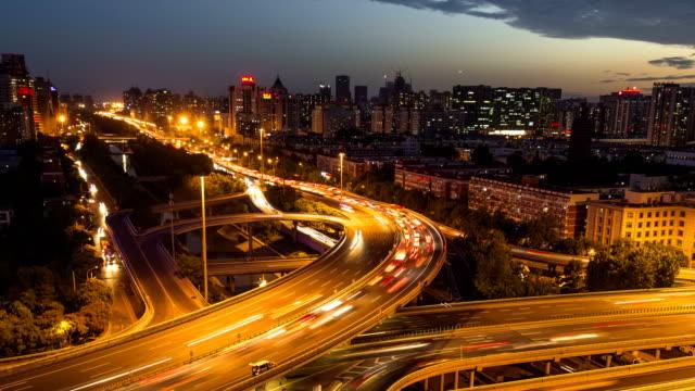 4k-Time Lapse-Urban highway traffic of shanghai at night