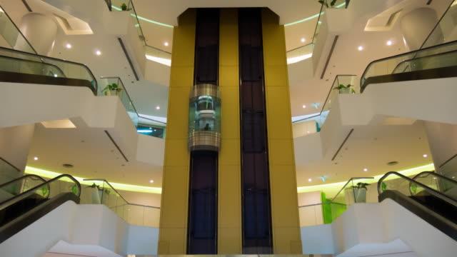 4K:Timelapse of Elevators ride at multilevel building
