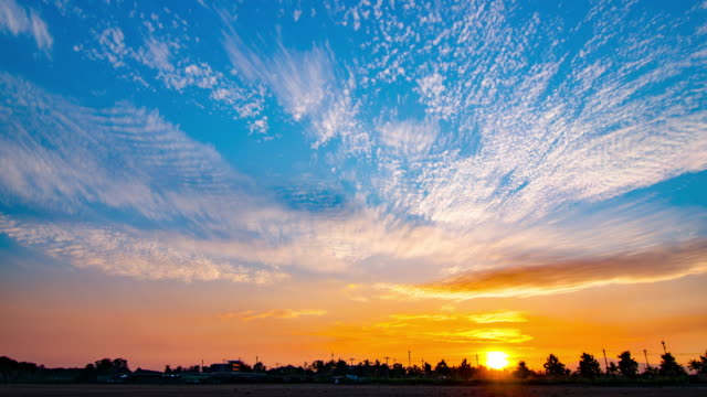 4K:Time-lapse of sunset with colourful sky and cloud