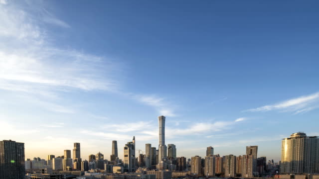 vídeos y material grabado en eventos de stock de 4k-timelapse-beijing central business district buildings skyline, china cityscape - inversion