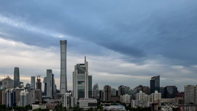 vídeos de stock, filmes e b-roll de 4k-timelapse-distrito central do negócio de beijing skyline dos edifícios, arquitectura da cidade da porcelana - facade