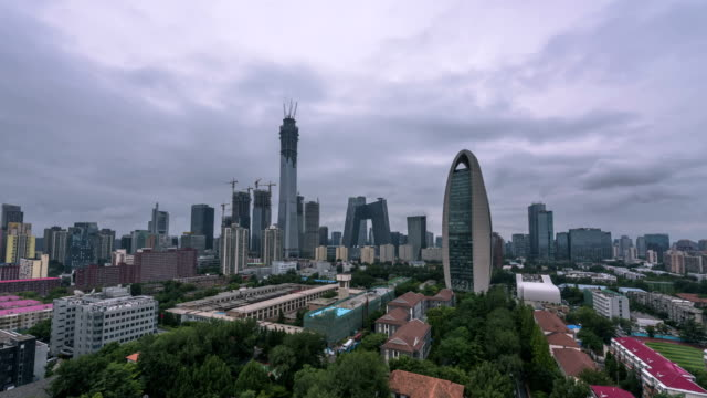 4K-TimeLapse-Pékin Central Business district bâtiments ligne d'horizon, paysage urbain de la Chine