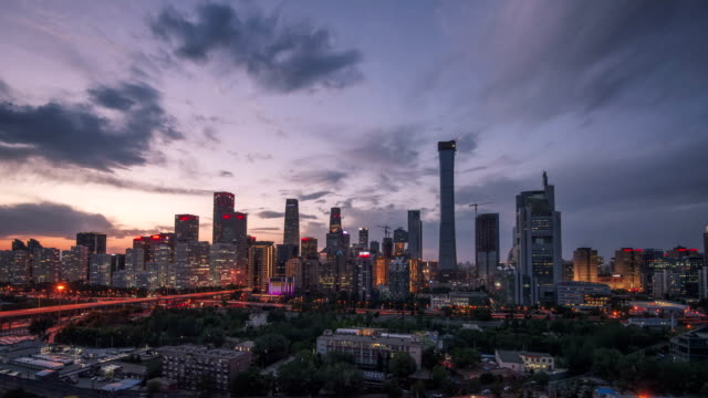 4K-TimeLapse-Beijing Central Business district buildings skyline in night, China cityscape