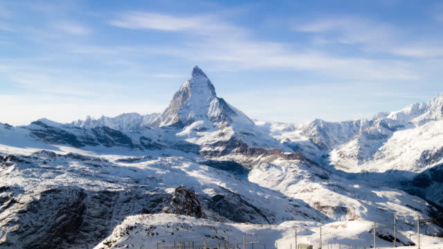 4K:View Of Matterhorn In Swiss Alps timelapse