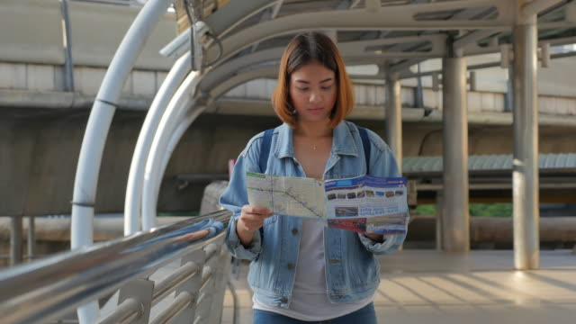 4K:Young Woman With Tourist Map , Slider Panning