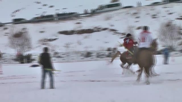 4th Cildir International Cyrstal Lake Winter Festival held over Frozen Cildir Lake in Ardahan Turkey on February 04 2017 The Cirit Game ancient...