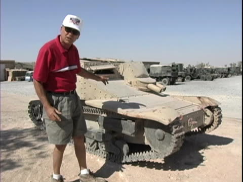 4th may 2005 videographer's narration of mystery surrounding midget tank / fob speicher, iraq / audio - 30代の男性だけ点の映像素材/bロール