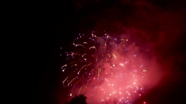 4th of july fireworks - aerial drone shot - pasadena california stock videos & royalty-free footage