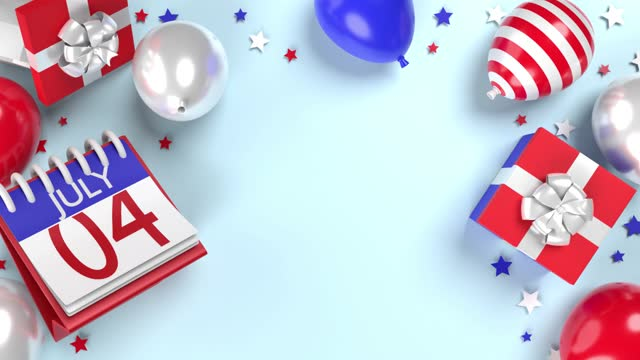 4th of july independence day greeting card on blue background loop ready in 4k resolution - number 4 stock videos & royalty-free footage