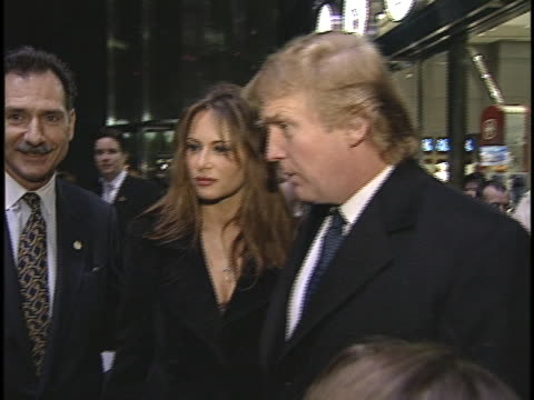 stockvideo's en b-roll-footage met 4x3 footage of donald trump melania wandering around an event brief interview about trump tower he does brief interview and says it's a beautiful... - 1999
