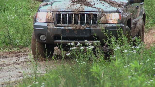 cu 4x4 car driving through big puddle in meadow, vrhnika, slovenia - 田舎道点の映像素材/bロール
