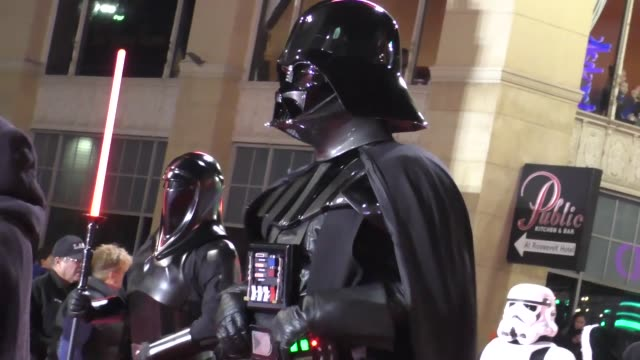 501st legion star wars characters on hollywood blvd at the 85th annual hollywood christmas parade in hollywood in celebrity sightings in los angeles - sfilata di natale di hollywood video stock e b–roll