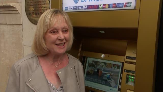 50th anniversary of cash machine carol greygoose interview sot - richard pallot stock-videos und b-roll-filmmaterial