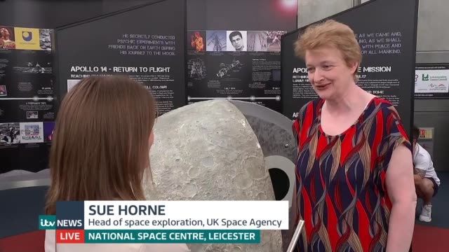 Fifty years on from historic Apollo 11 launch LIVE ENGLAND Leicestershire Leicester Natinal Space Centre INT Reporter to camera Sue Horne interview...