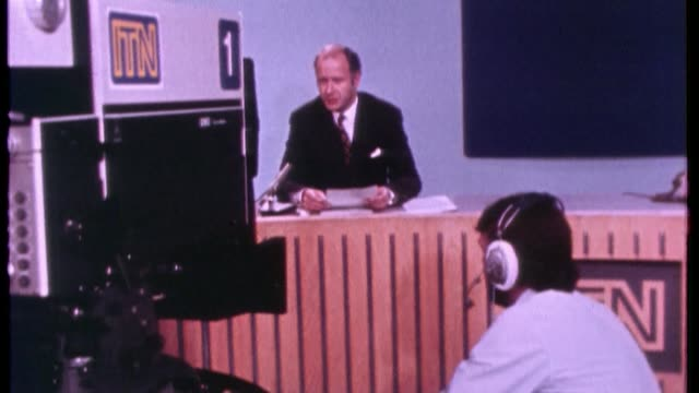 50th anniversary of news at ten; u03079202 date unknown news at ten presenter and cameraman. reginald bosanquet and alastair burnet presenting show... - julie etchingham stock videos & royalty-free footage