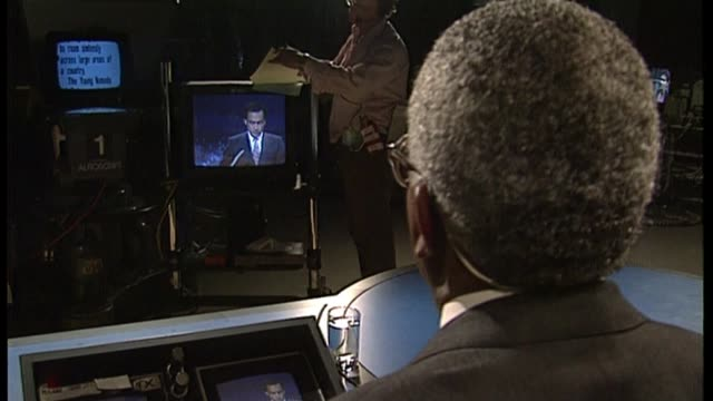 50th anniversary of news at ten; u03079202 date unknown trevor mcdonald reading autocue with interview overlaid sot - julie etchingham stock videos & royalty-free footage