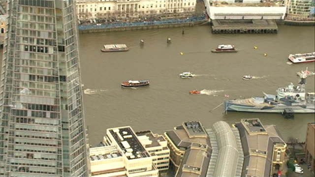 50th anniversary of Sir Winston Churchill funeral AIR VIEW / AERIAL Havengore and flotilla up river past HMS Belfast and The Shard
