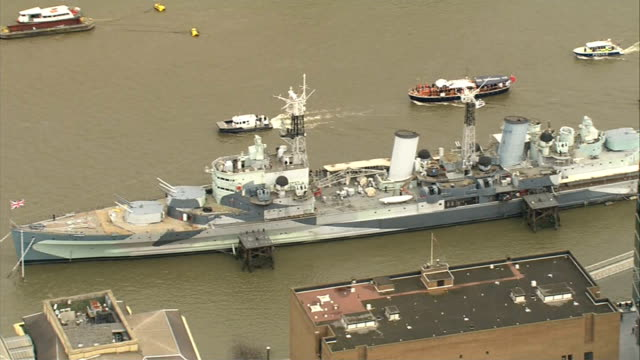 50th anniversary of Sir Winston Churchill funeral AIR VIEW / AERIAL Flotilla passing HMS Belfast