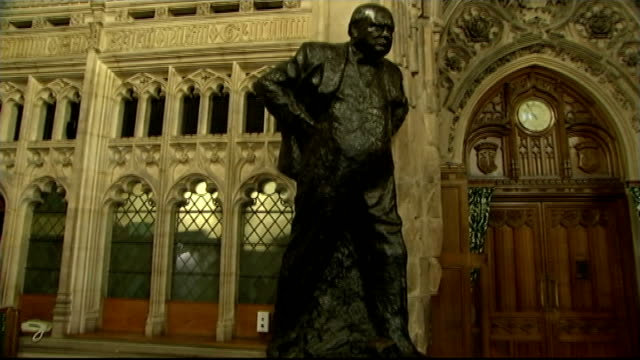 50th anniversary of sir winston churchill funeral house of commons members' lobby int david cameron mp ed miliabnd mp and nick clegg mp stand holding... - winston churchill prime minister stock videos and b-roll footage