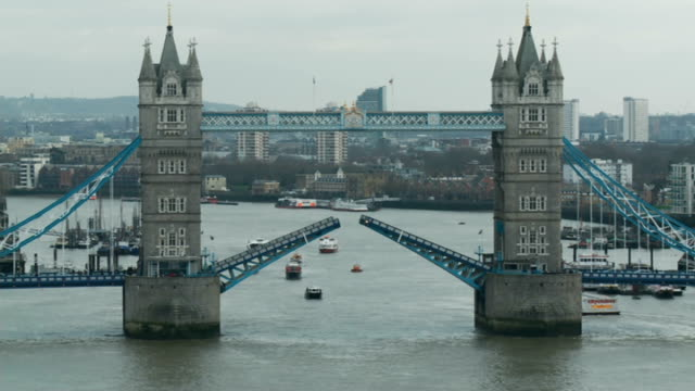 50th anniversary of Sir Winston Churchill funeral Tower Bridge raised as Havengore barge and flotilla sails through