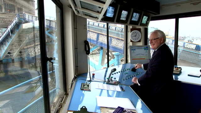 50th anniversary of Sir Winston Churchill funeral Tower Bridge raised as Havengore barge and flotilla approaches Rodney Croft operating controls in...