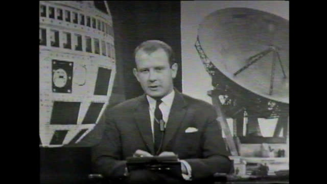 50th anniversary of telstar 10th july 1962 london itn studio w footage reporter andrew gardner in studio announcing telstar and first tv pictures... - face down stock videos & royalty-free footage