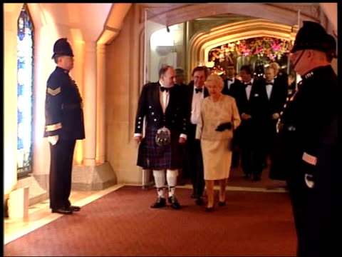 arrivals/party gvs int various guests talking and milling around / phillip schofield / fern britton / dennis norden and nicholas parsons talking /... - phillip schofield stock videos & royalty-free footage