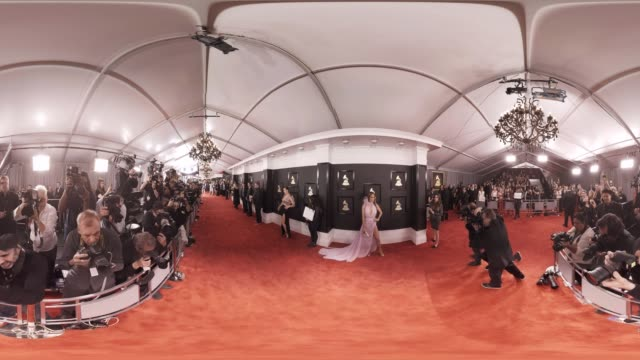 capsule 59th annual grammy awards 360 ñ arrivals - equirectangular panorama stock videos & royalty-free footage