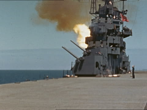 WWII 5inch 38caliber guns being fired from USS Yorktown during gunnery practice