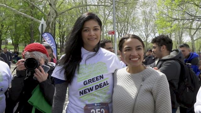 A 5k Run held in Astoria Park Queens in support of US Congresswoman Alexandria OcasioCortez's Green New Deal April 27 2019 on the Saturday following...