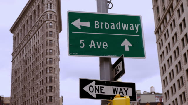 5th and broadway sign with the flatiron building - flatiron building manhattan stock videos and b-roll footage