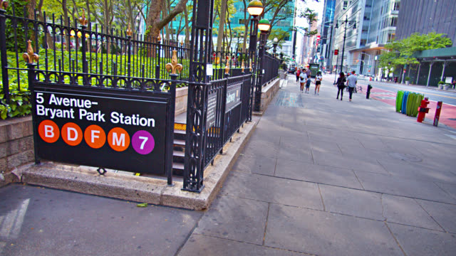 5th avenue by bryant park. station. 42nd street. city street. - bryant park stock videos & royalty-free footage